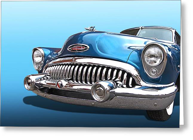 Blue Buick Greeting Cards - Chrome Heaven - Buick Riviera 1953 Greeting Card by Gill Billington