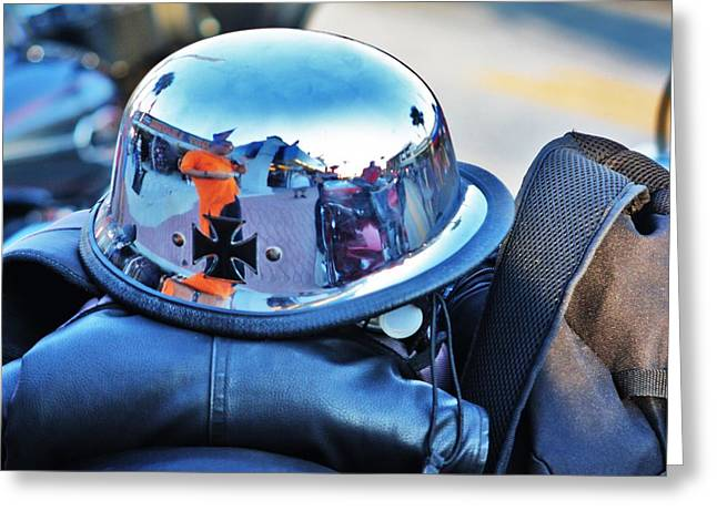 Straps Greeting Cards - Chrome helmet Greeting Card by Chuck  Hicks