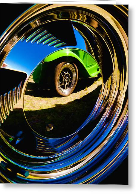 Phil Motography Clark Greeting Cards - Chrome Hubcap Greeting Card by Phil