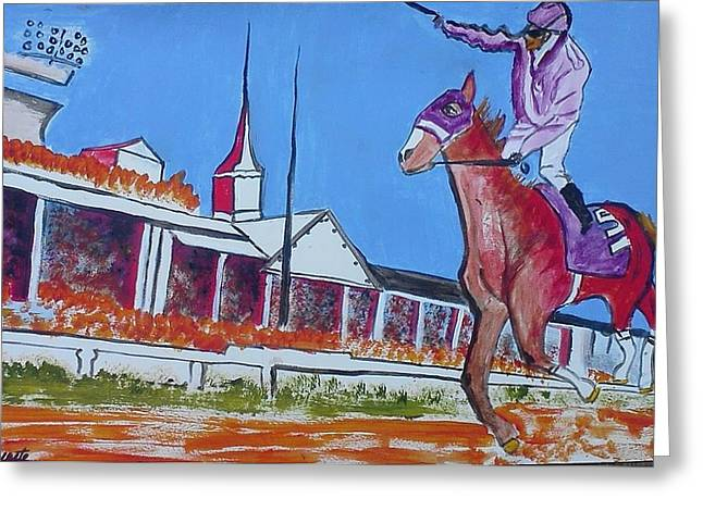 Race Horse Greeting Cards - Chrome on Fire Greeting Card by Carol Duarte