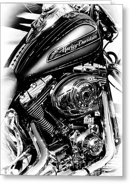 Hogs Greeting Cards - Chromed Harley Monochrome Greeting Card by Tim Gainey