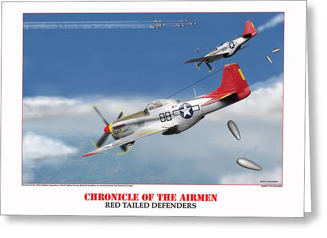 Tuskegee Airman Greeting Cards - Chronicle Of The Airmen Red Tailed Defenders Greeting Card by Jerry Taliaferro