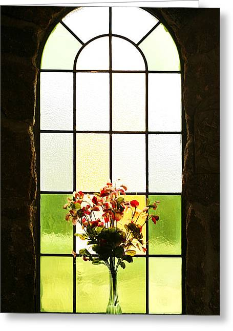 Glass Vase Greeting Cards - Chruch Flowers 2 Greeting Card by Marilyn Hunt