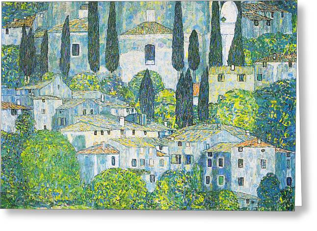 Signed Drawings Greeting Cards - Chruch in cassone Greeting Card by Celestial Images