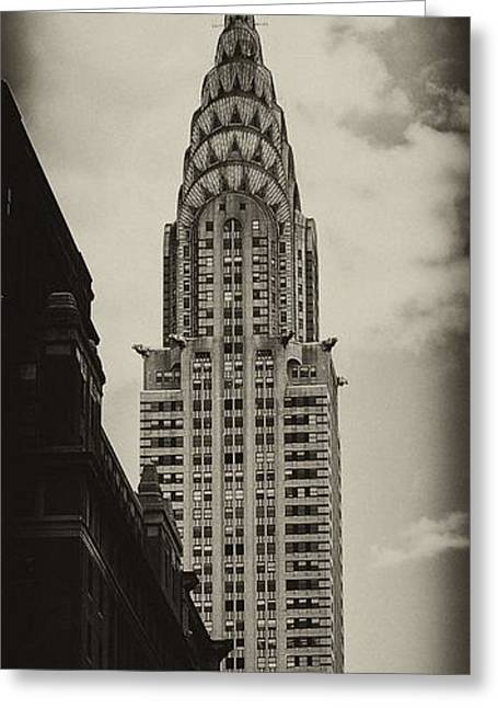 Grey Fine Art Greeting Cards - Chrysler Greeting Card by Andrew Paranavitana
