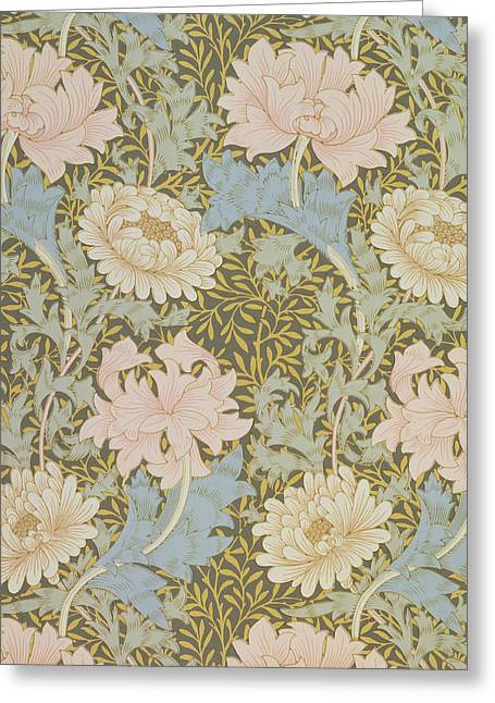 Configuration Greeting Cards - Chrysanthemum Wallpaper Greeting Card by William Morris