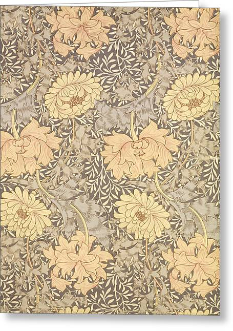 Leaves Tapestries - Textiles Greeting Cards - Chrysanthemum Greeting Card by William Morris