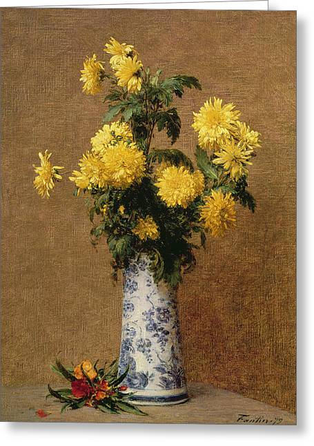 Chrysanthemums, 1879 Greeting Card by Ignace Henri Jean Fantin-Latour