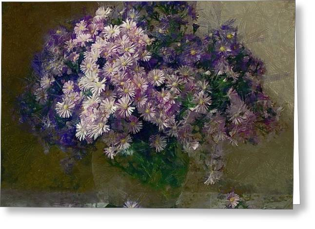 Interior Still Life Mixed Media Greeting Cards - Chrysanthemums 2 Greeting Card by Vasiliy Agapov