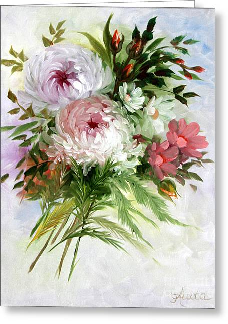 Shower Curtain Greeting Cards - Chrysanthemums Greeting Card by  ILONA ANITA TIGGES - GOETZE  ART and Photography