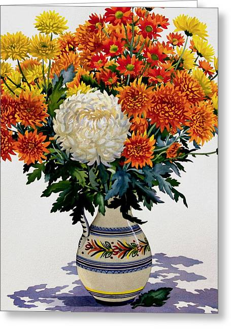 Flower Still Life Greeting Cards - Chrysanthemums In A Patterned Jug, 2005 Wc On Paper Greeting Card by Christopher Ryland