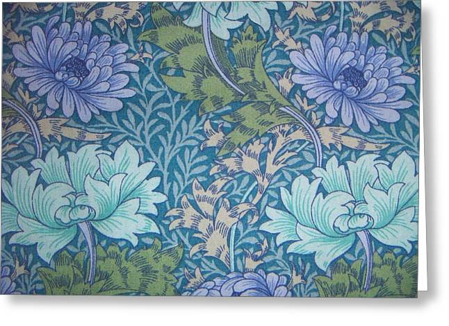 Wallpaper Tapestries Textiles Greeting Cards - Chrysanthemums in Blue Greeting Card by William Morris