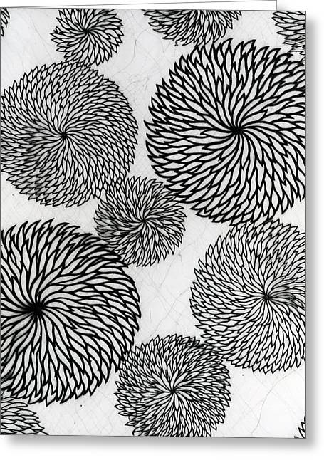 Black Tapestries - Textiles Greeting Cards - Chrysanthemums Greeting Card by Japanese School