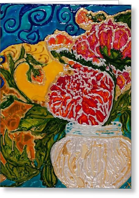 Chrysanthemums On Display Greeting Card by Christi Klema