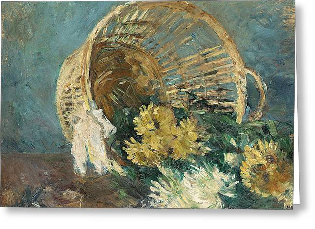 Morisot Canvas Greeting Cards - Chrysanthemums or The Overturned Basket Greeting Card by Berthe Morisot