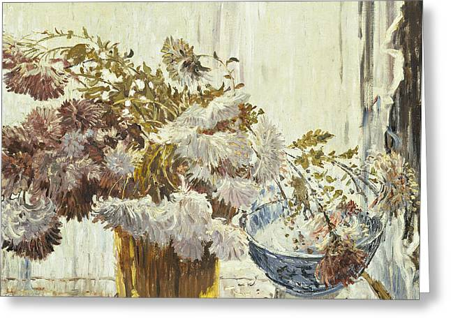 Chrysanthemum Greeting Cards - Chrysanthemums Greeting Card by Walter Elmer Schofield