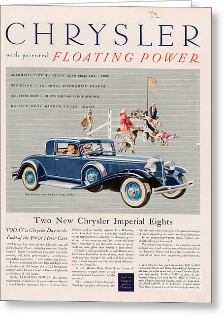 American Automobiles Greeting Cards - Chrysler 1932 1930s Usa Cc Cars Greeting Card by The Advertising Archives
