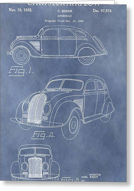 Mechanics Mixed Media Greeting Cards - Chrysler Airflow Patent Greeting Card by Dan Sproul