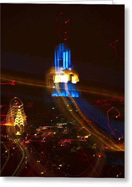 Decor Photography Pyrography Greeting Cards - Chrysler and the Emire building with lights Greeting Card by Habib Ayat