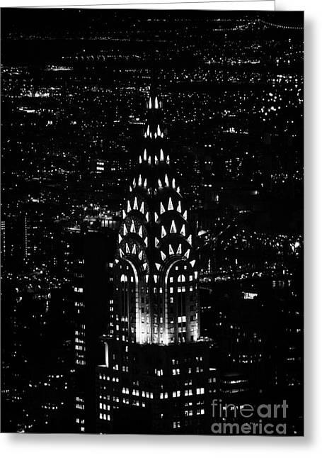 Manhatan Greeting Cards - Chrysler art deco building illuminated at night new york city Greeting Card by Joe Fox