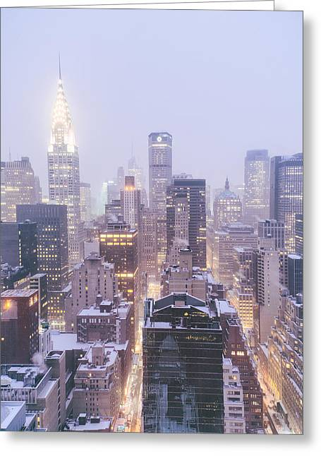 New York Snow Greeting Cards - Chrysler Building and Skyscrapers Covered in Snow - New York City Greeting Card by Vivienne Gucwa