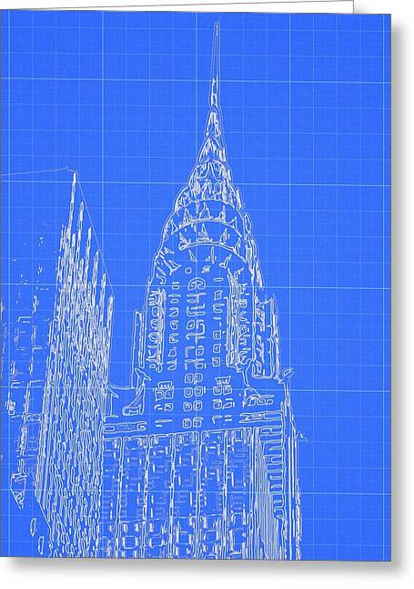 Brick Buildings Mixed Media Greeting Cards - Chrysler Building Blueprint Sketch Greeting Card by Dan Sproul
