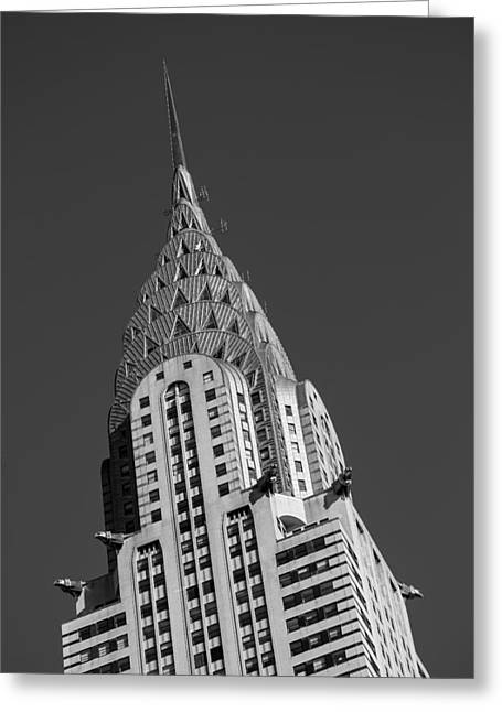 Art Of Building Greeting Cards - Chrysler Building BW Greeting Card by Susan Candelario