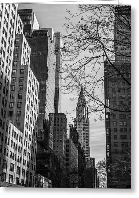 Bryant Park Greeting Cards - Chrysler Building Greeting Card by David Morefield