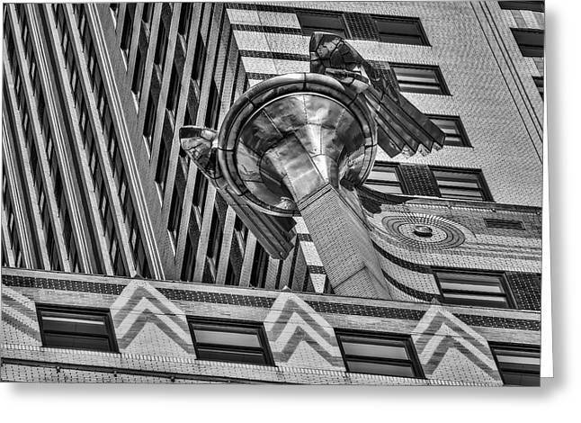 United States Greeting Cards - Chrysler Building Gargoyle BW Greeting Card by Susan Candelario