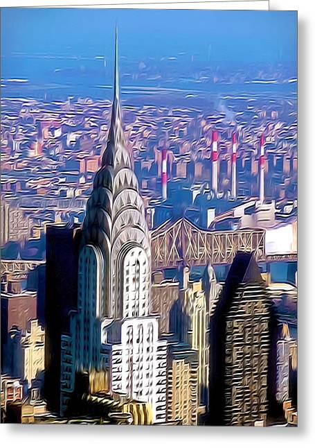 Editorial Paintings Greeting Cards - Chrysler Building in midtown Manhattan  Greeting Card by Lanjee Chee