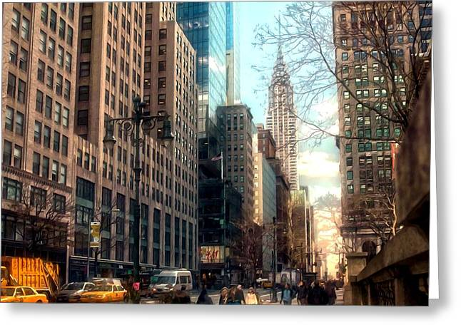 Police District Greeting Cards - Chrysler Building in the day with street Greeting Card by Lanjee Chee
