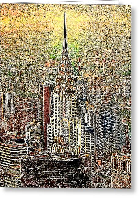 Times Square Digital Art Greeting Cards - Chrysler Building New York City 20130425 Greeting Card by Wingsdomain Art and Photography