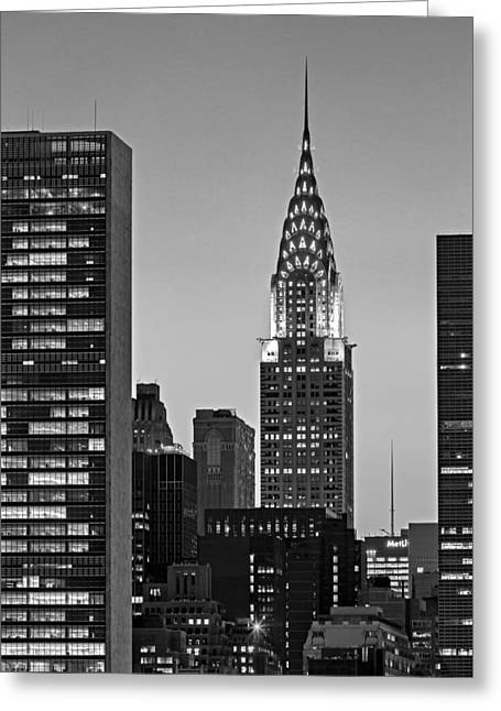 Long Street Greeting Cards - Chrysler Building New York City BW Greeting Card by Susan Candelario