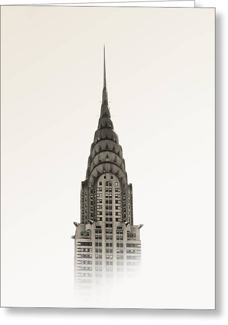 Sepia Mixed Media Greeting Cards - Chrysler Building - NYC Greeting Card by Nicklas Gustafsson