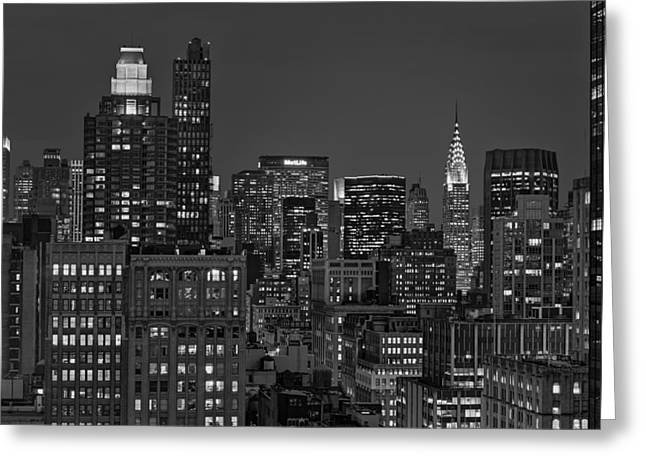 Flatiron Building Greeting Cards - Chrysler Building Twilight BW Greeting Card by Susan Candelario