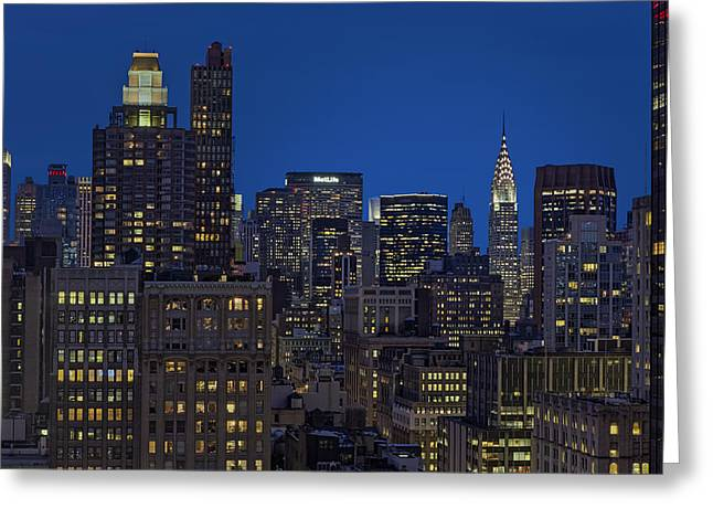 Blue Hour Greeting Cards - Chrysler Building Twilight Greeting Card by Susan Candelario