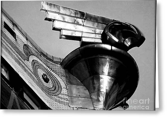 Stainless Steel Greeting Cards - Chrysler Building Wings - Profile Greeting Card by James Aiken