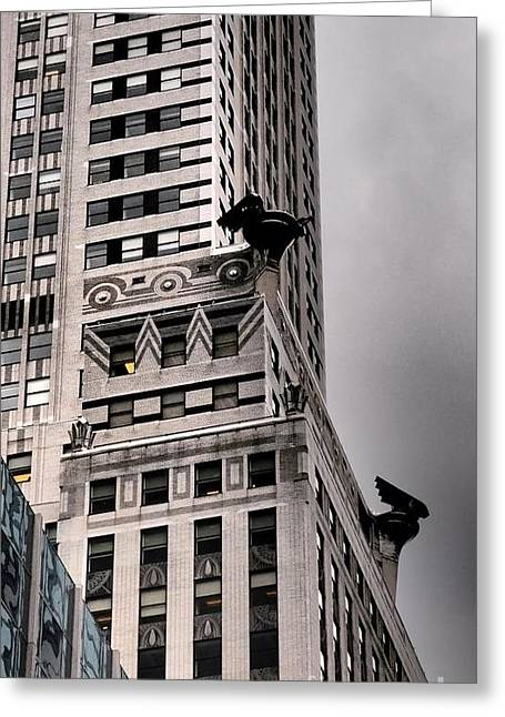Famous Photographers Greeting Cards - Chrysler Building with Guardian Gargoyles Greeting Card by Miriam Danar