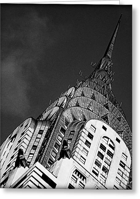 Stainless Steel Greeting Cards - Chrysler Buildings Apex Greeting Card by James Aiken
