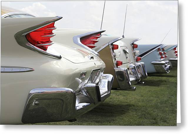 Bumper Greeting Cards - Chrysler Fins Greeting Card by Mike McGlothlen