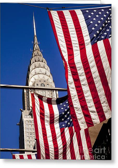 Midtown Greeting Cards - Chrysler Flags Greeting Card by Brian Jannsen