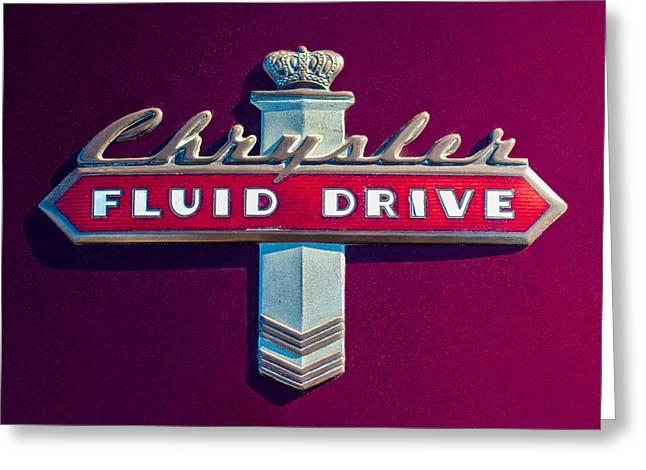 Fluid Greeting Cards - Chrysler Fluid Drive Emblem Greeting Card by Jill Reger
