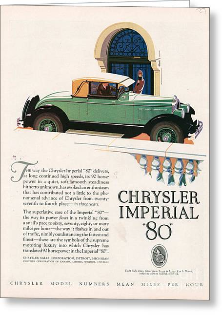 American Automobiles Greeting Cards - Chrysler Imperial 1927 1920s Usa Cc Greeting Card by The Advertising Archives