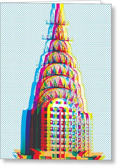 Chrysler Building Digital Art Greeting Cards - Chrysler POP Art Greeting Card by Gary Grayson