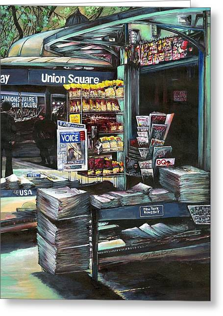 Union Square Paintings Greeting Cards - Chrysocolia Morning Union Square NYC Greeting Card by Gaye Elise Beda