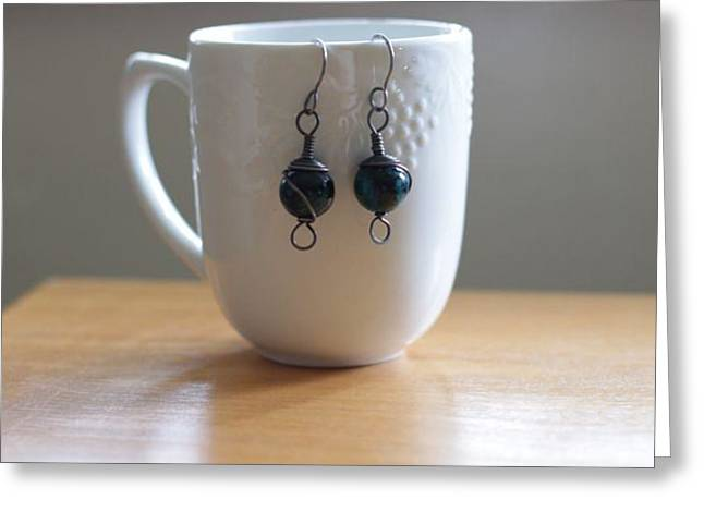 Handcrafted Jewelry Greeting Cards - Chrysocolla and Annealed Steel Earrings Greeting Card by Tracy Partridge-Johnson