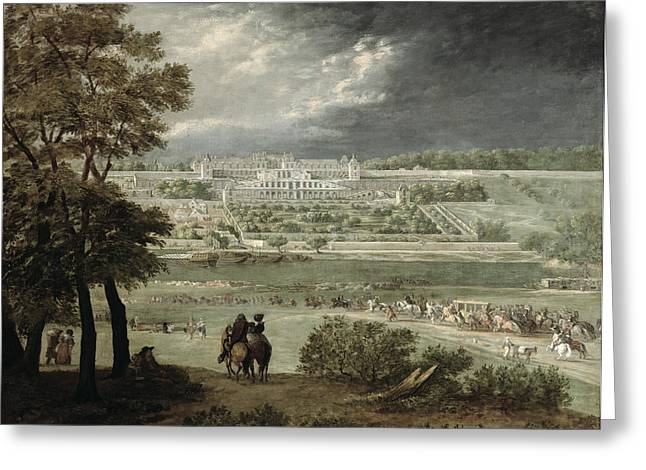 Entourage Greeting Cards - Château Of St. Germain-en-laye In 1655 Oil On Canvas Greeting Card by Adam Frans van der Meulen