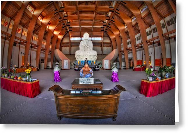 Virtuous Greeting Cards - Chuang Yen Buddhist Monastery Greeting Card by Susan Candelario