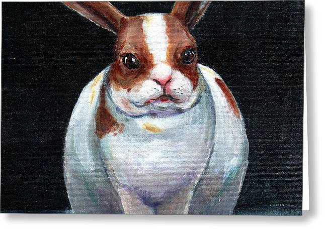 Chubby Bunnie Greeting Card by Linda L Martin