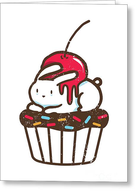 Cute Digital Art Greeting Cards - Chubby bunny on cupcake Greeting Card by Budi Kwan